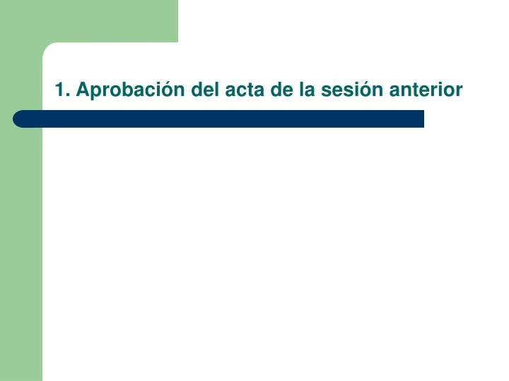 1. Aprobación del acta de la sesión anterior