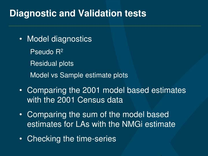 Diagnostic and Validation tests