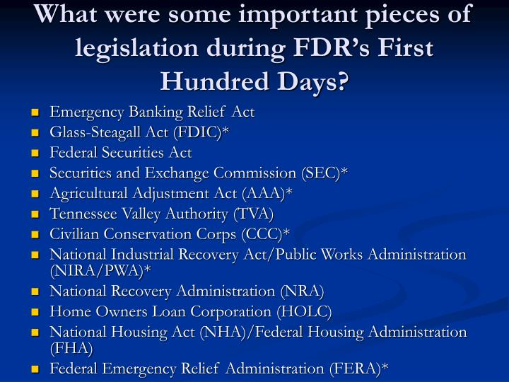 What were some important pieces of legislation during FDR's First Hundred Days?