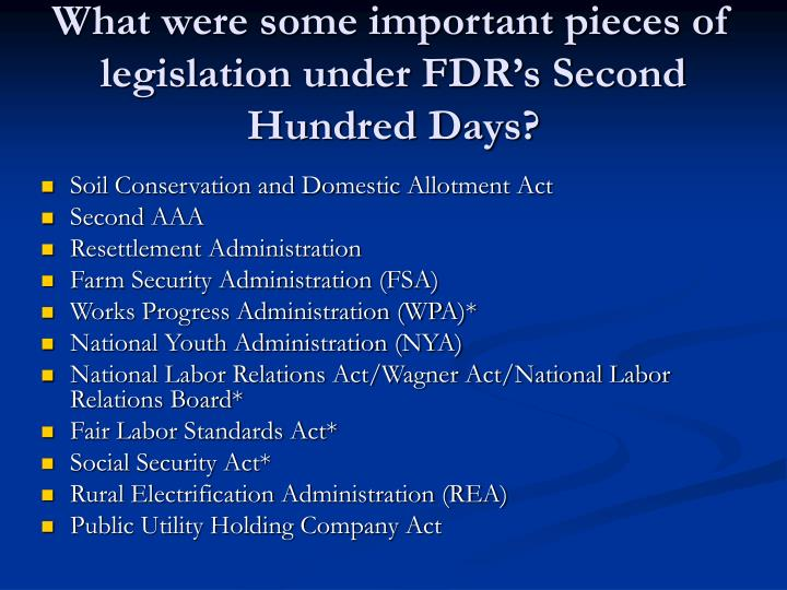 What were some important pieces of legislation under FDR's Second Hundred Days?