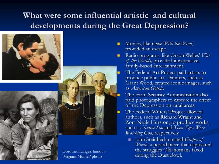 What were some influential artistic  and cultural developments during the Great Depression?