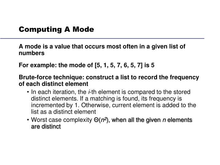 Computing A Mode