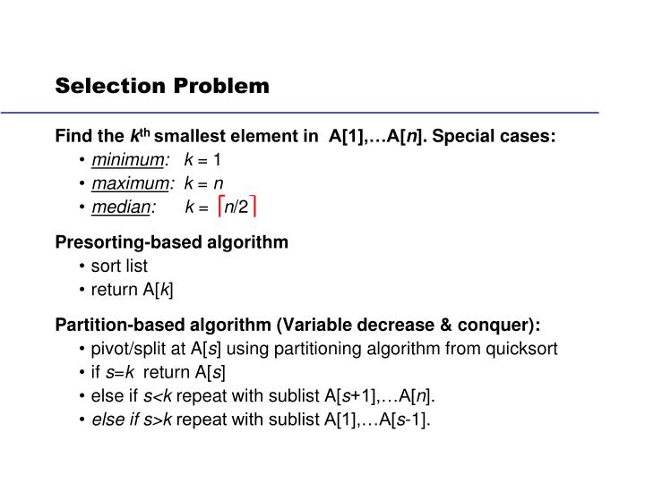 Selection Problem
