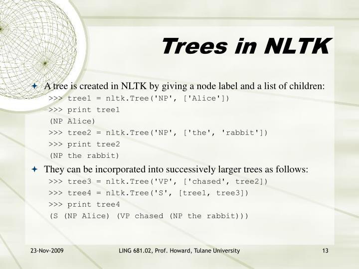 Trees in NLTK
