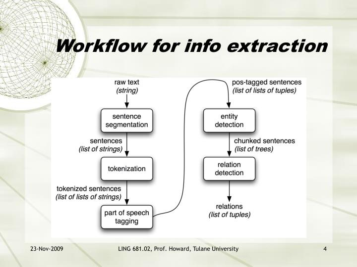 Workflow for info extraction