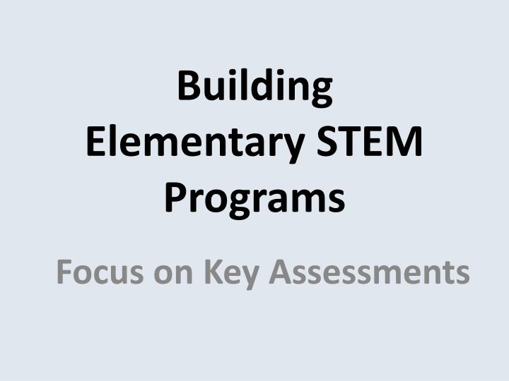 Building elementary stem programs