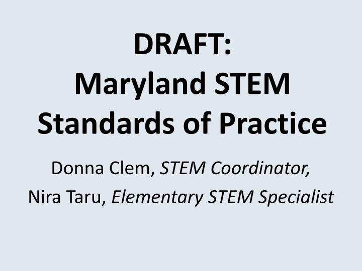 Draft maryland stem standards of practice