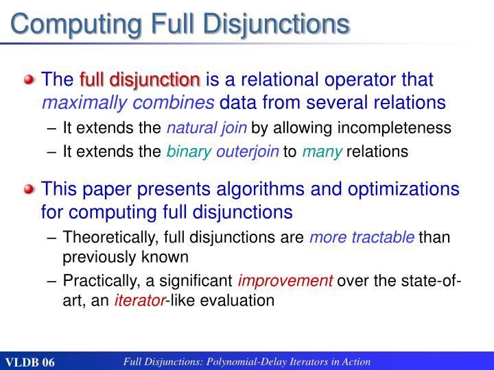 Computing Full Disjunctions