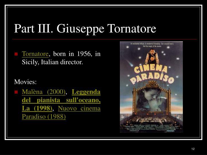 Part III. Giuseppe Tornatore