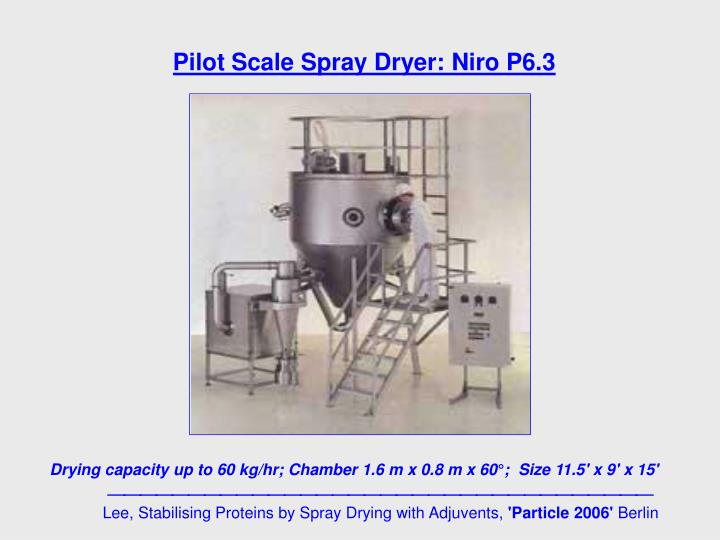 Pilot Scale Spray Dryer: Niro P6.3
