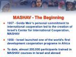 mashav the beginning