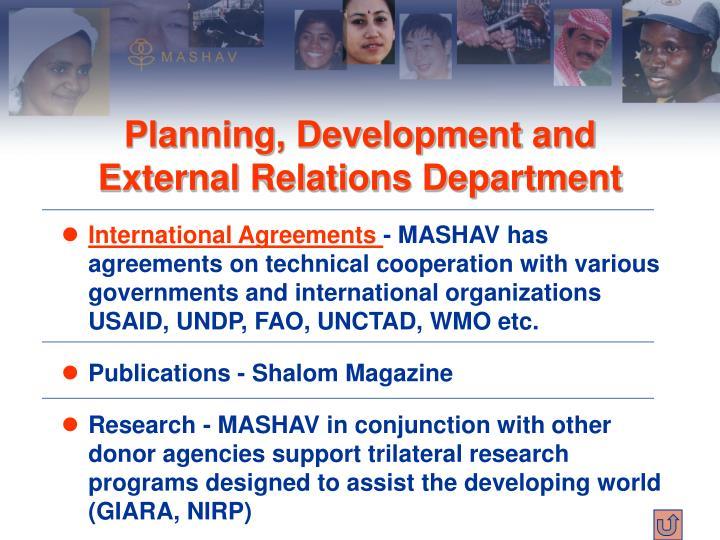 Planning, Development and External Relations Department