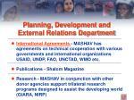 planning development and external relations department