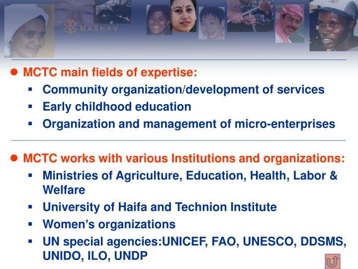 MCTC main fields of expertise: