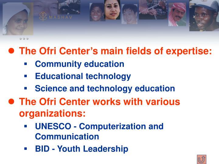 The Ofri Center's main fields of expertise: