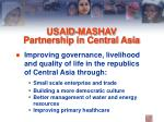 usaid mashav partnership in central asia