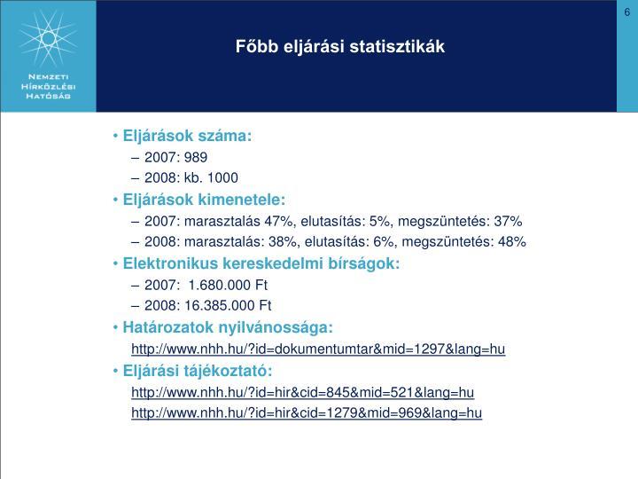 Főbb eljárási statisztikák