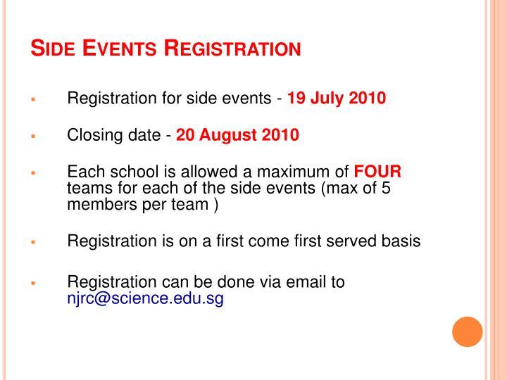 Side Events Registration
