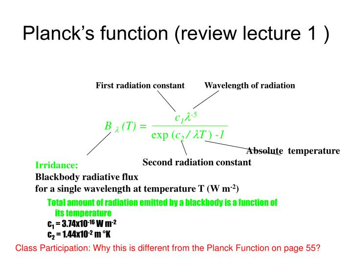 Planck's function (review lecture 1 )