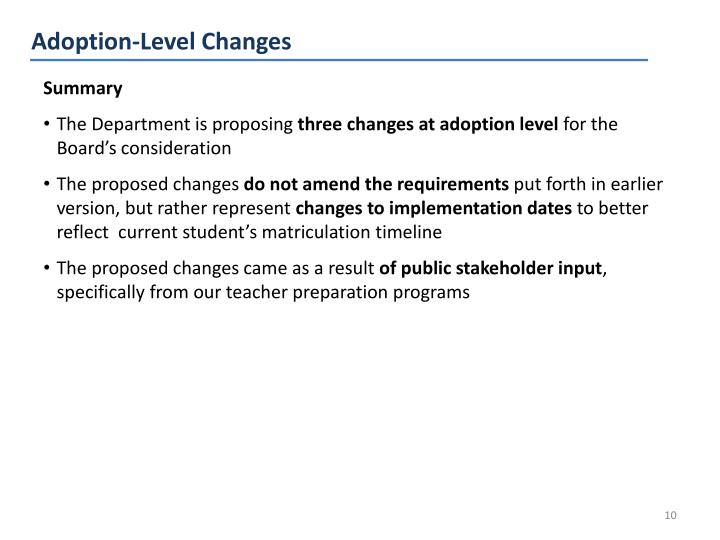 Adoption-Level Changes