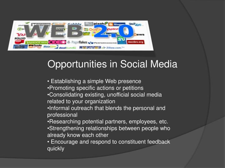 Opportunities in Social Media