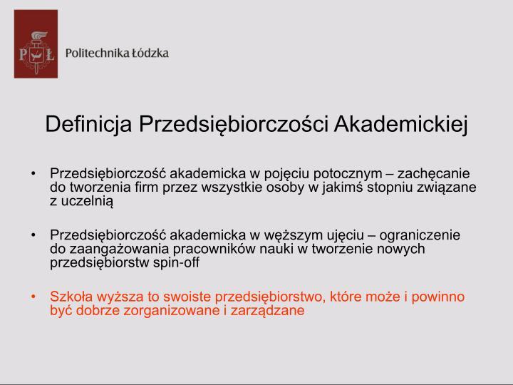 Definicja Przedsiębiorczości Akademickiej