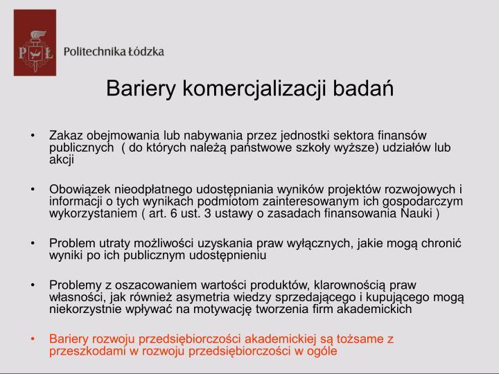 Bariery komercjalizacji badań