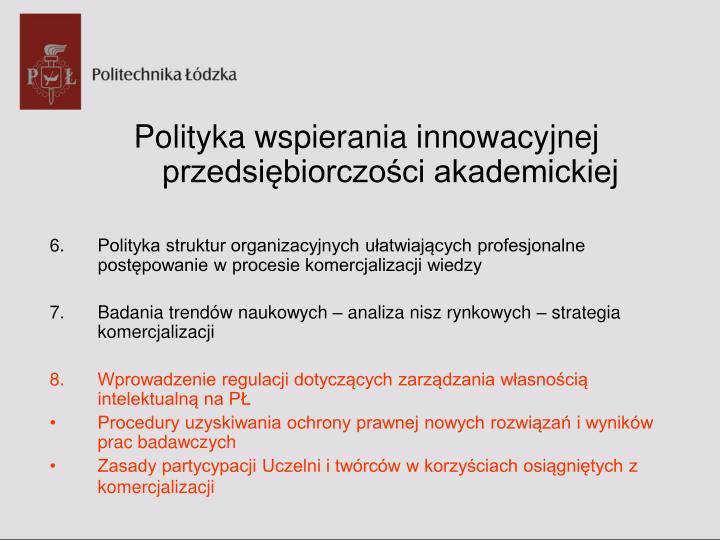 Polityka wspierania innowacyjnej przedsiębiorczości akademickiej