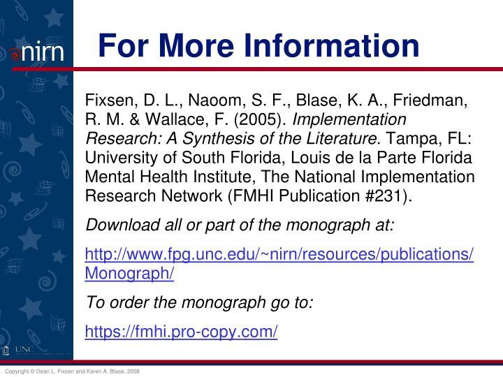 Fixsen, D. L., Naoom, S. F., Blase, K. A., Friedman, R. M. & Wallace, F. (2005).