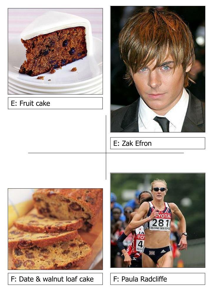 E: Fruit cake