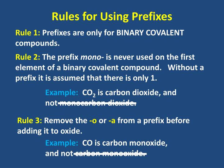 Rules for Using Prefixes