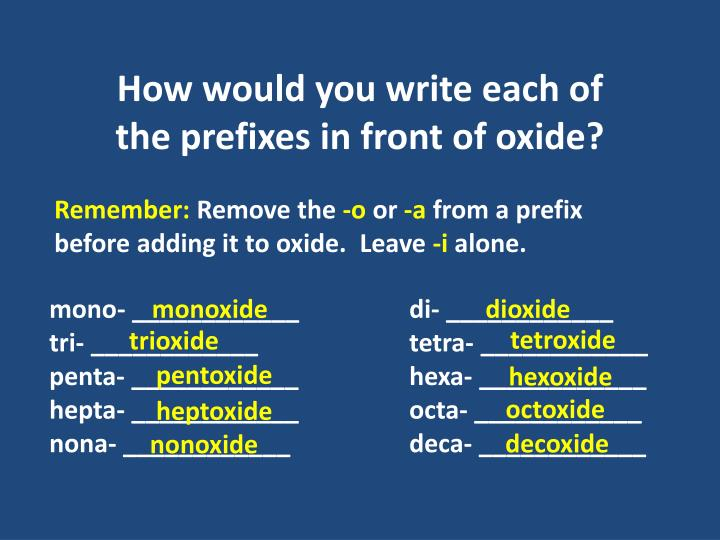 How would you write each of the prefixes in front of oxide?