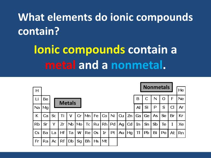 What elements do ionic compounds contain?