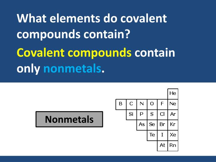 What elements do covalent compounds contain?