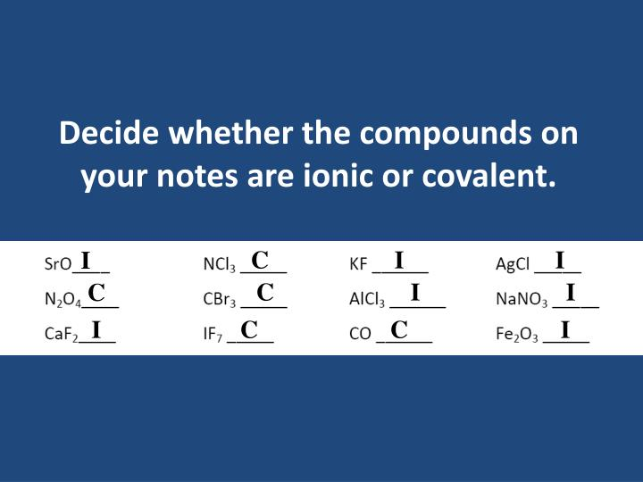 Decide whether the compounds on your notes are ionic or covalent.