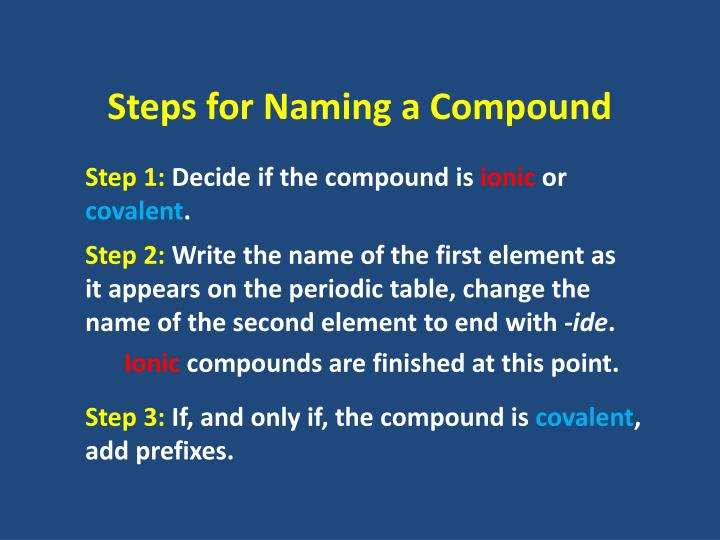Steps for Naming a Compound