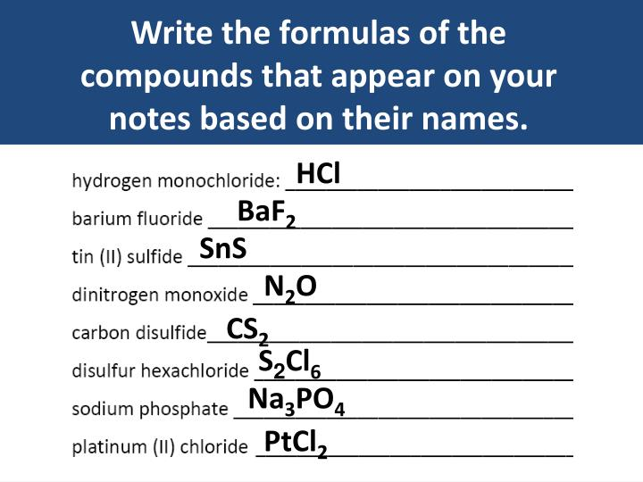 Write the formulas of the compounds that appear on your notes based on their names.