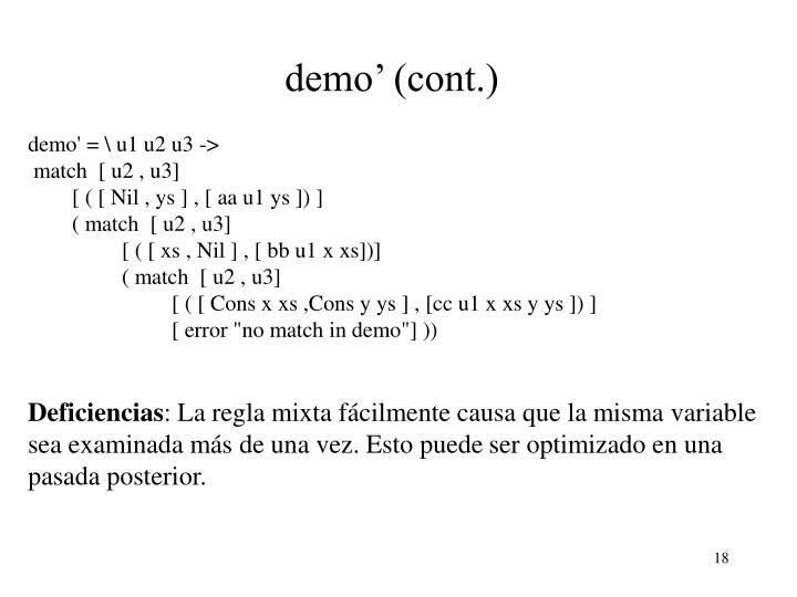 demo' (cont.)