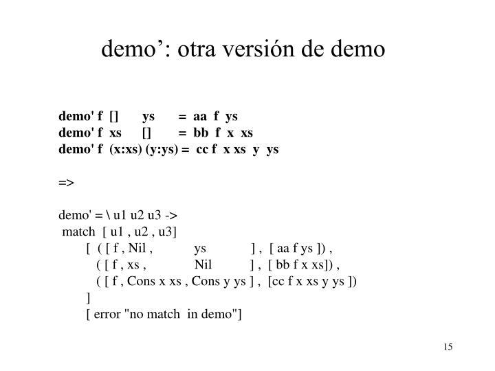 demo': otra versión de demo