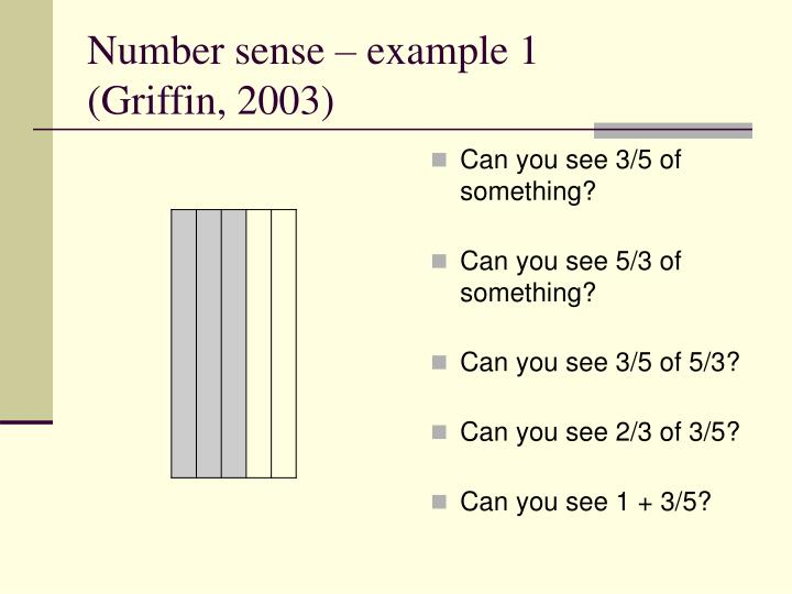 Number sense – example 1