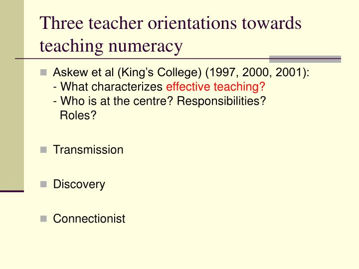 Three teacher orientations towards teaching numeracy