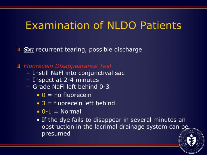 Examination of NLDO Patients