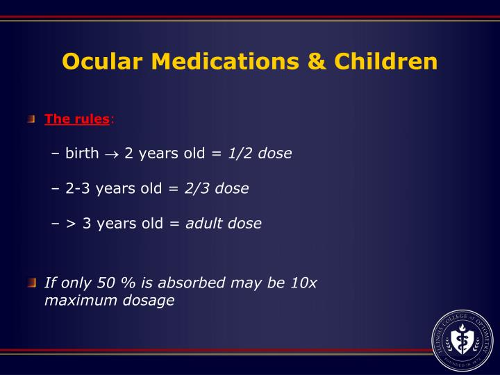 Ocular medications children