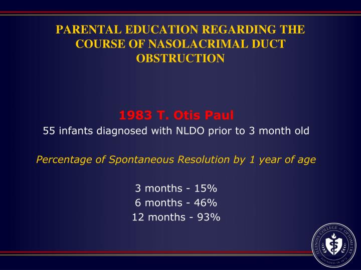 PARENTAL EDUCATION REGARDING THE COURSE OF NASOLACRIMAL DUCT OBSTRUCTION