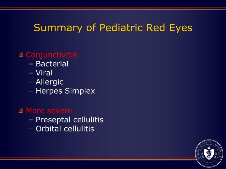 Summary of Pediatric Red Eyes