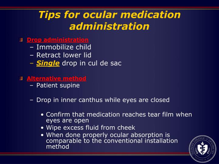 Tips for ocular medication administration