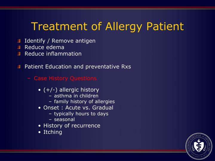 Treatment of Allergy Patient