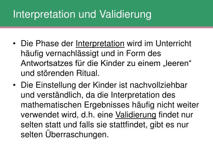 Interpretation und Validierung