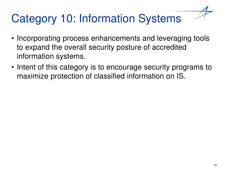 Category 10: Information Systems