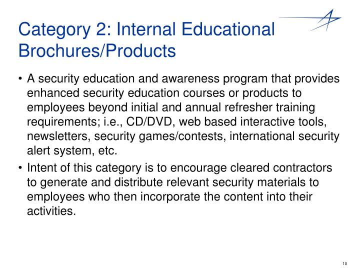 Category 2: Internal Educational Brochures/Products